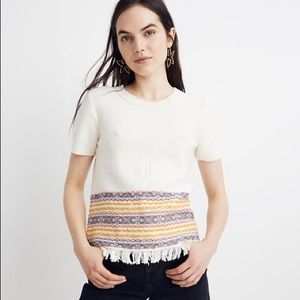 New Madewell Fringed Jacquard Sweater Tee